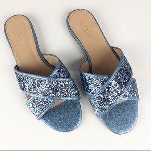 J. Crew Sparkle Slide Sandals - Size 7